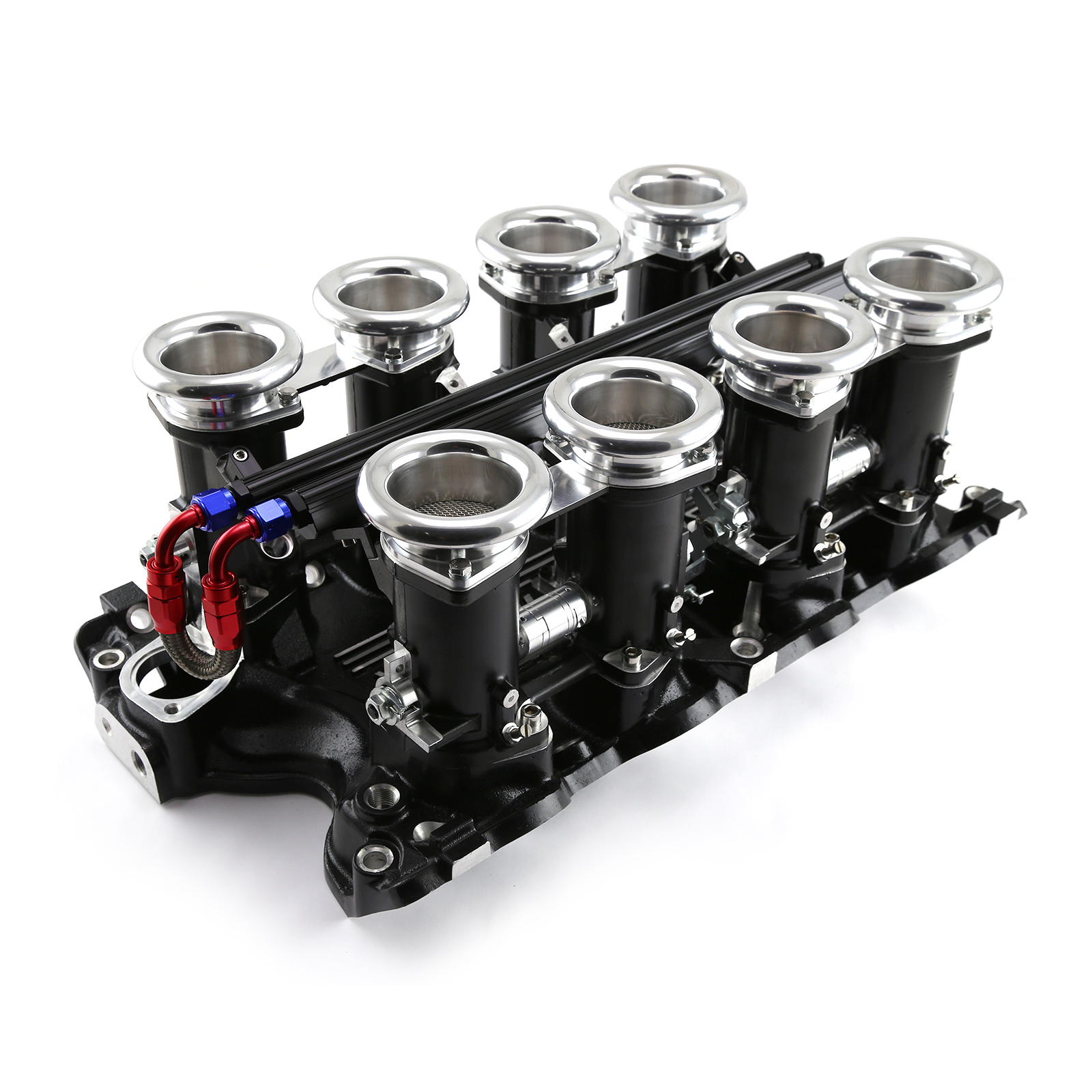 Ford BB 460 Downdraft EFI Stack Intake Manifold System Complete Black